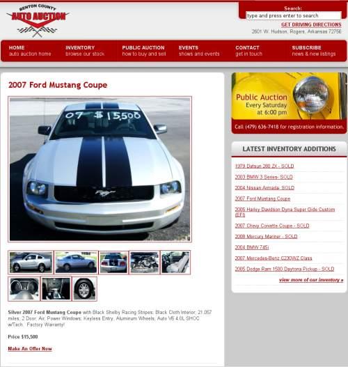 Benton County Auto Auction website screenshot