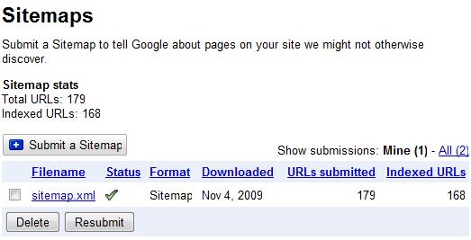 Sitemaps in Google Webmaster Tools
