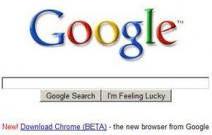 Google screenshot showing Chrome download link position